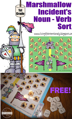 FREE Noun / Verb Sorting activity based on the book Marshmallow Incident. Perfect for helping first grade students learn about parts of speech (homeschool)