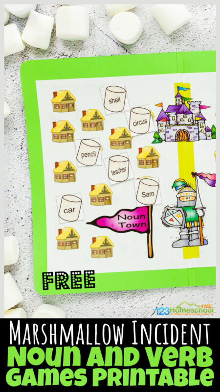 Practice identifying nouns and verbs with this fun noun and verb games printable based on one of our favorite books - The Marshmallow Incident. Children in first grade, 2nd grade, and 3rd graders will have fun practicing grammar with this noun and verb sort game. The noun and verb games is easy to assemble and reusable for lots of fun practice!