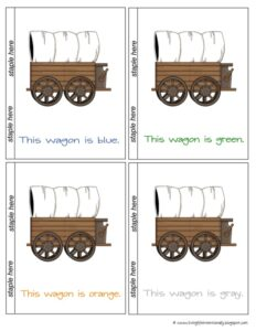 covered wagon color printables