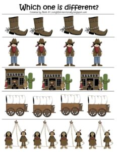 cowboy worksheets which one is different