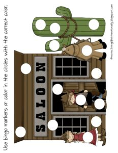 do a dot printable to complete scene of old western town