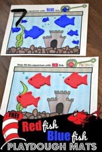 dr seuss preschool one fish two fish red fish blue fish playdough ativity