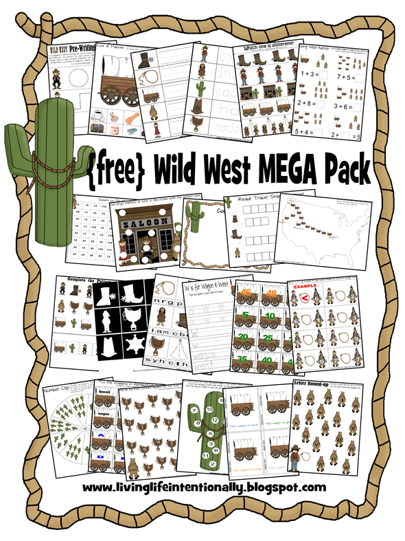 FREE Wild West Worksheets for kids from toddler, preschool, kindergarten, 1st grade, 2nd grade to practice alphabet letters, counting, matching, adding, colors, and so much more with a fun western, cowboy theme #wildwest #preschoolworksheets #freeprintables