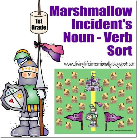 {free} 1st grade marshmallow noun verb sort