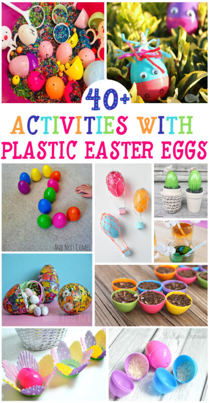 47 Plastic Eggs Activities for Easter - so many fun Easter crafts and Easter activities for kids using Easter eggs #easter #plasticeggs #preschool