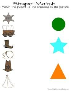 wild west shape matching worksheet