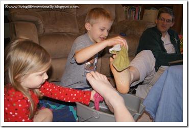 washing feet like Jesus did as a family