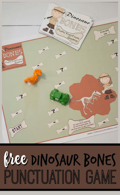 If you are looking for a fun way to help your kindergarten, first grade, and 2nd grade childpractice punctuation you are going to love thisPunctuation Game. Thees free punctuation printables have a fun dinosaur theme to keep kids engaged. Thispunctuation activity helps students practice adding either a period or a question mark to the end of sentences. Simply download pdf file withfirst grade punctuationand you are ready to play and learn!
