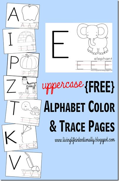 FREE Uppercase Alphabet Color and trace pages - super handy NO PREP alphabet worksheets for toddler, preschool, and kindergarten age kids #alphabet #preschool #worksheetsforkids
