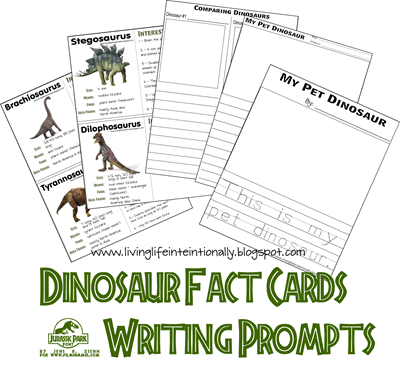 free Dinosaur Fact Cards and writing prompts