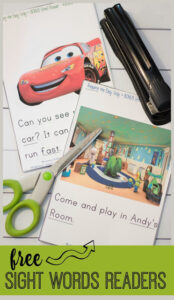 toy story and cars sight word readers