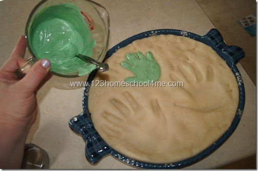 Pour Colored Plaster of Paris into Hand Mold