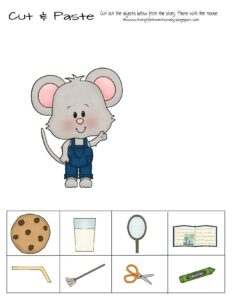 cut and paste worksheet for laura numeroff if you give a series for preschoolers