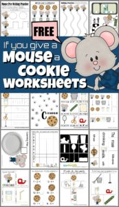 Grab these FREE printable If you give a Mouse a Cookie worksheets to help toddler, preschool, pre k, kindergarten, and first grade students practice numbers, letters, math, literacy, and more skills based on a really fun children's book. These free preschool worksheets are a fun book themed activity to help make learning fun with free homeschool worksheets!