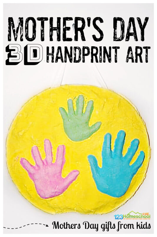 This amazing 3DMother's Day Handprint Art is the perfect gift for Mom that captures chidlren's precious hands so she will always remember how sweet and little they were! Use thismother's day handprint ideas with kids of all ages, but especially to capture little kids hands such as baby, toddler, preschool, pre-k, kindergarten, and first graders. This mother's day handprint crafts will be a treasured keepsake for a lifetime! This mothers day gifts from kidsis really quite simple and such a special way to say I love you on this Happy Mothers Day!
