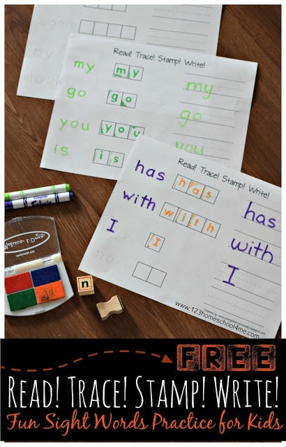 FREE Tracing Words Worksheets - Kids will have fun mastering sight words as they practice with these free printable  Read! Trace! Stamp! Write! worksheets perfect for preschool, prek, kindergarten, and first grade #sightwords #kindergarten #preschool
