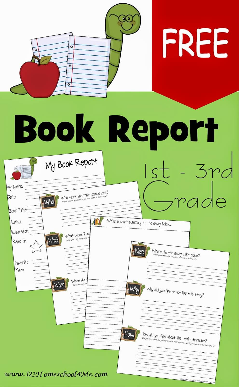 free book report template 123 homeschool 4 me