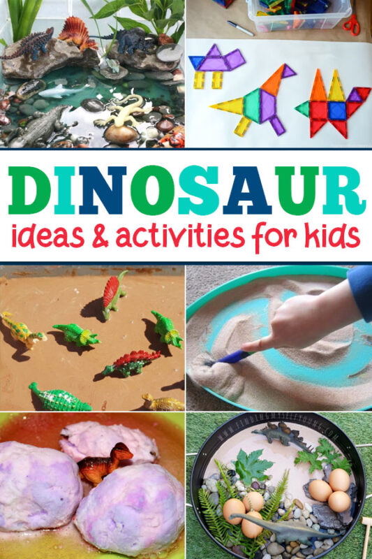 This bumper list of dinosaur activities preschool is full of lots of super fun ideas to keep kids of all ages busy. There are lots of dinosaur sensory play ideas, dinosaur small world ideas, gross motor ideas to get the kids moving, and lots more awesome dinosaur ideas and  activities to try.