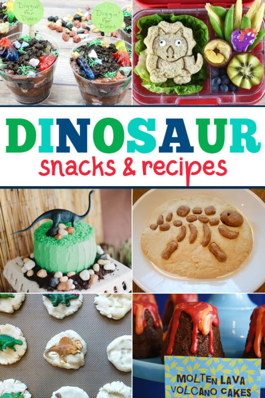 These fun dinosaur snacks and recipes are perfect if you are hosting a  dinosaur themed party, or as a fun treat. They are also a great hands on learning activity for any dinosaur themed learning unit.
