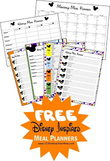 {free} Disney Inspired Meal Planners