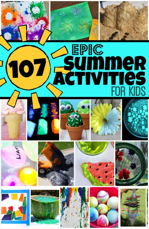 107 EPIC Summer Activities for Kids you will want to add to your vacation activities list! These are definitely must-try, fun things to do in the summer with kids of all ages from toddler, preschool, pre k, kindergarten, first grade, 2nd grade, and 3rd grade children!