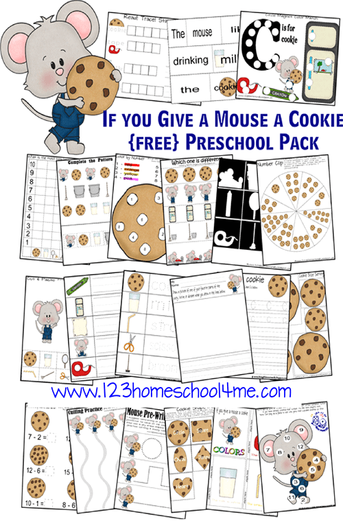 Grab these FREEif you give a mouse a cookie worksheets to help toddler, preschool, pre k, kindergarten, and first grade students practice numbers, letters, math, literacy, and more skills with a really fun children's book. This book themed activity help make learning fun with free homeschool worksheets!