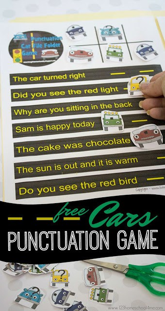 FREE Cars Punctuation Games for kids - this printable activity is such a fun way for first grade and 2nd grade students to practice ending marks #punctuation #endingmarks #firstgrade
