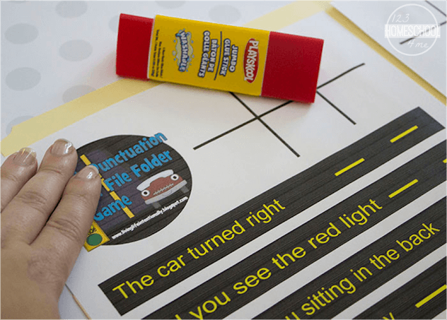 glue punctuation game in a file folder