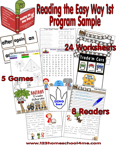 If you are looking for a way to help your first grader improve reading skills and fluency reading sight words, you will loveReading the Easy Way 1st Grade! This program is an engaging way for 1st grade students to practice all the sight words for grade 1while having fun! You will find a lesson plan, lots of fun interactive 1st grade reading games, you are going to love Reading the Easy Way! It includes over 24 worksheets, 5 games, and 8 printable readers.