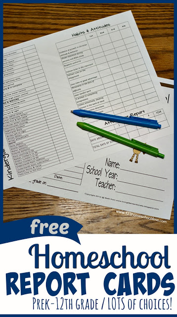 FREE Printable Homeschool Report Cards - K-12th grade with LOTS of options! These records sheets are perfect for keep homeschooling records, accessing progress, keepsake, college prep, teaching kids how to deal with constructive criticism. #homeschool #homeschooling