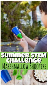 These super EASY to make marshmallow shooters are a must for your summer bucket list. This summer activity for kids is not only fun, but it is actually a STEM activity for kids too! Students assemble, tweak, and design this simple marshmallow cannon to try to get the most distance they can. THis is such a simple, but fun summer activities your preschool, pre-k, kindergarten, and elementary age students in first grade, 2nd grade, 3rd grdae, 4th grade, 5th grade, and 6th grade students will want to try over summer break!