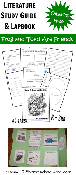 Frog and Toad are Friends Literature Study Guide includes both a lapbook and worksheets to help kindergarten, first grade, and 2nd graders to work on reading comprehension, writing letters, hibernation, frogs versus toads, and more! #forgandtoad #kindergarten #firstgrade
