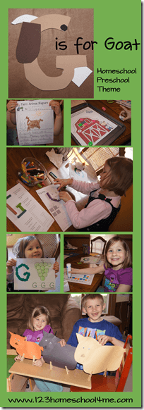 Today we are learning the letter G. We decided to do ag is for goat week and learn about goats and other farm animals too. Take a peak atou r letter g craft, our g is for goat craft, free printable farm worksheets, letter g workshets, andgoat activities. These activities are fun for toddler, preschool, pre-k, and kindergarten age students.