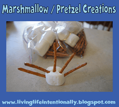 road trip games - marshmallow and pretzel creations