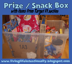 road trip ideas - snack and prize box