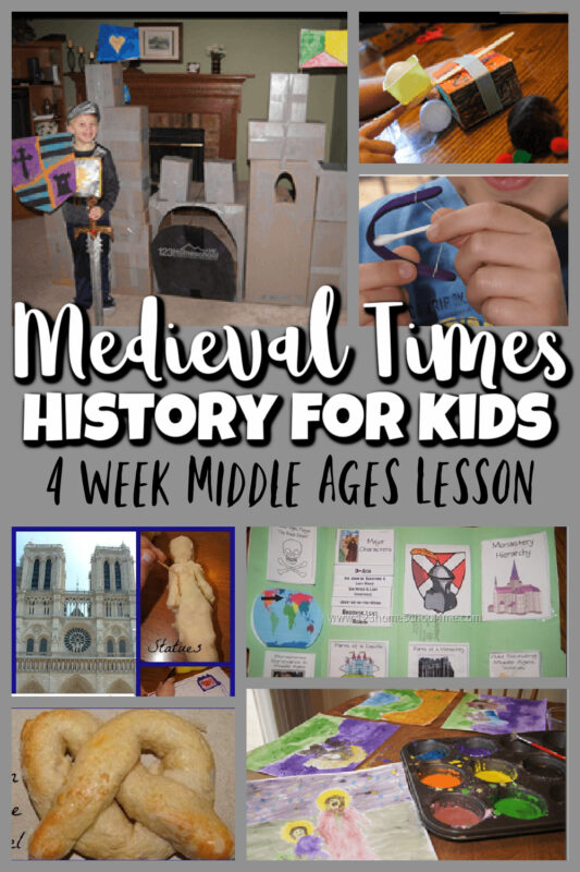 medieval times for kids - 4 week lesson about history from 400-1600 AD. Make a life-size castle, design a coat of arms, make a bow and arrow, learn the significance of the church in the middle ages, learn the origins of the pretzel, and paint life famous artist Giotto with egg paint.