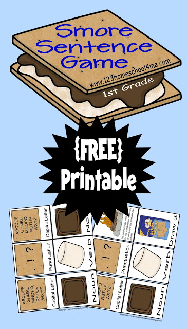 FREE Printable Smore Sentence Game to help homeschool first grade students learn about sentences and how to build complete sentences including noun, verb, capital letter, and punctuation.