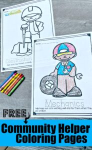 HUGE pack of super cute, free printable Community helpers coloring book printable for toddler, preschool pre k, kindergarten, first grade students