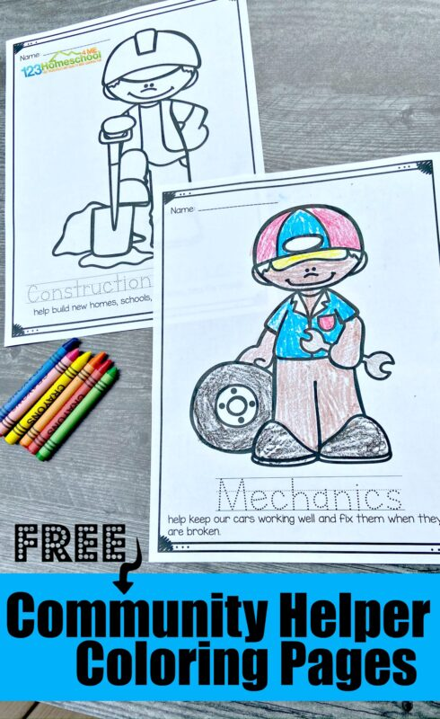 HUGE pack of super cute, free printable Community helpers coloring book printable for toddler, preschool pre k, kindergarten, first grade students