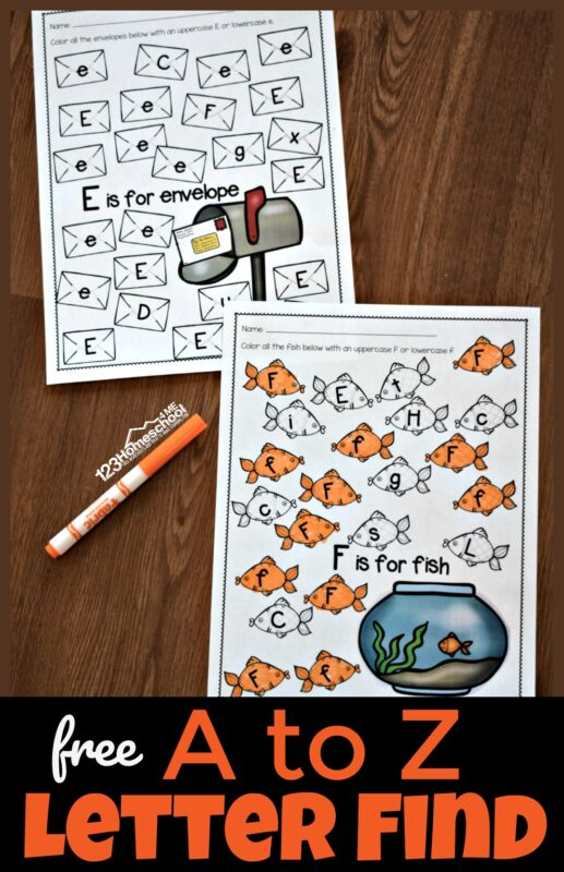 Free A to Z letter find worksheets - SUPER CUTE free printable alphabet worksheets perfect to help preschool and kindergarten students practice letter recognition of uppercase and lowercase letters. Each worksheet has a fun theme that appeals to kids. #alphabetworksheets #preschool #kindergarten