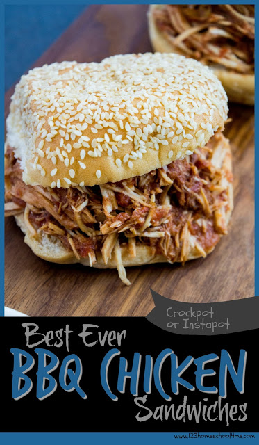 Best Ever BBQ Chicken Sandwiches - this super tender, flavorful and delicious chicken recipe is my go to for any large gathering or Sunday afternoon. It is so EASY and perfect every time. Just dump everything in your Crockpot or Instapot and your will have a yummy lunch or dinner recipe in not time.