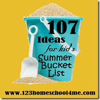 107 Must to Summer Actiivities for Kids - Bucket List