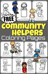 Help children learn about those that do essential jobs in our cities, state, and neighborhoods with these super cute and fun to color community helpers coloring pages. Just download the free coloring pages and have fun using crayons to colour firefighters, garbage collectors, doctors, farmer, police officers, and more! These are such a fun kids activity for toddler, preschool, pre k, kindergarten, and first grade students.