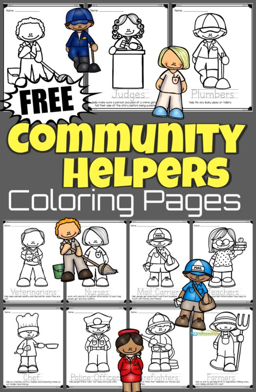 Help children learn about those that do essential jobs in our cities, state, and neighborhoods with these super cute and fun to colorcommunity helpers coloring pages. Just download the free coloring pages and have fun using crayons to colour firefighters, garbage collectors, doctors, farmer, police officers, and more! These are such a fun kids activity for toddler, preschool, pre k, kindergarten, and first grade students.
