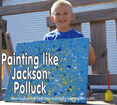 Jackson Pollock Art for Kids - very fun famous artist project to help kid learn about abstract art  #artforkids #preschool #homeschool