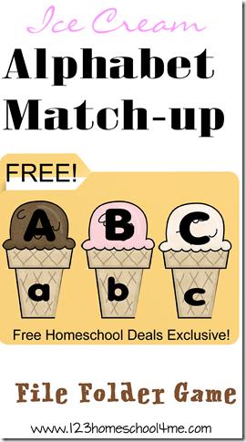 FREE Ice Cream Alphabet File Folder Game #alphabet #preschool #kindergarten