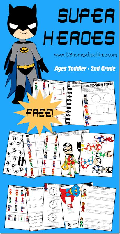 superhero worksheets for kids 123 homeschool 4 me