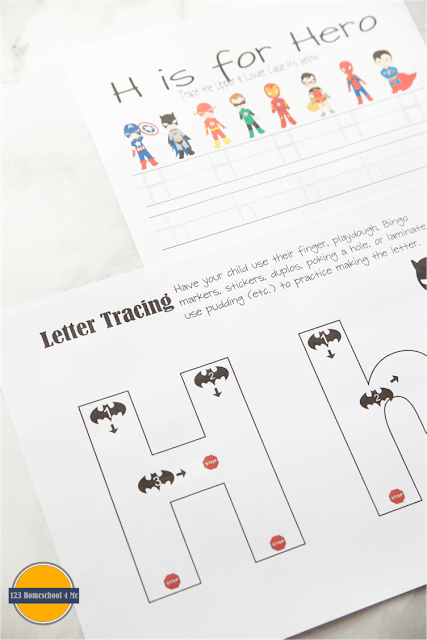 letter h alphabet practice with super hero theme