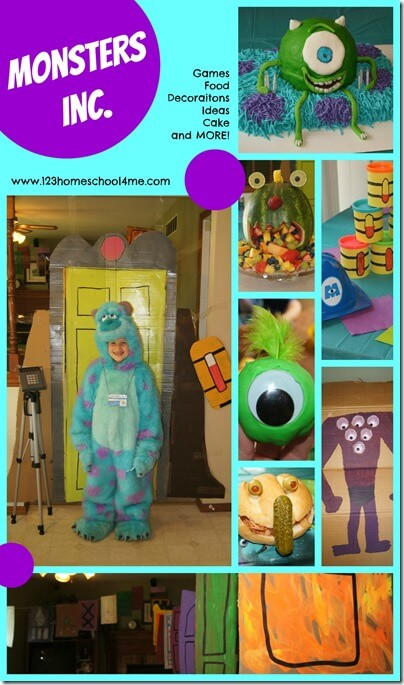 Monsters Inc. Birthday Party - so many fun clever disney monsters themed decorations, monster crafts, monsters university themed food, and so much more for kids of all ages #birthdayparties #birthdaytheme