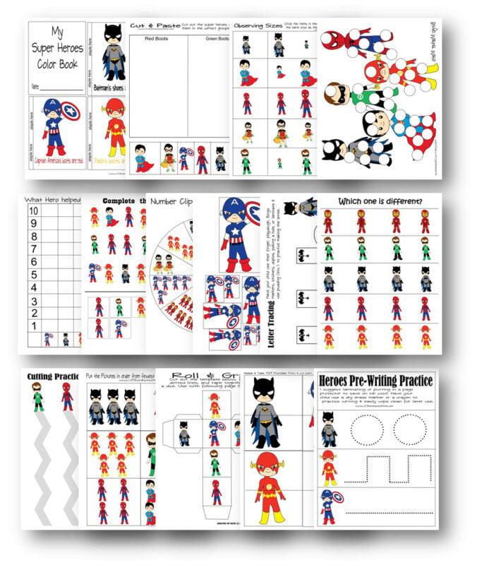 Free Superhero Worksheets